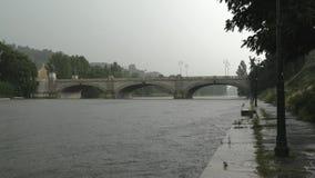 Heavy rain in turin, italy Royalty Free Stock Photos