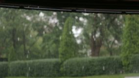 Heavy rain and wind in the Park. Summer rain in the Park. Heavy rain and wind in the Park. Rain drops falling from the roof stock footage