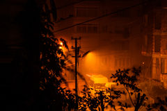 Heavy Rainfall At Night. The infamous heavy rainfall started long after midnight in Marmara region of the country Turkey and caused multiple flash floods around Stock Photography