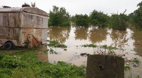 Heavy rains in the Midwest have created flooding and delayed farmers. From planting flooded fields floods global warming nature landscape water rural stock image