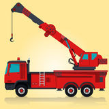 Heavy red crane on yellow. Royalty Free Stock Photo
