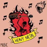 Heavy rock music badge vector background vintage label with punk skull symbol hard sound sticker emblem illustration. Heavy rock music badge vector background Stock Image