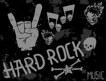 Heavy rock music badge vector background vintage label with punk skull symbol hard sound sticker emblem illustration. Heavy rock music badge vector background Royalty Free Stock Photo