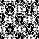 Heavy rock music badge vector vintage label with punk skull seamless pattern background hard sound sticker emblem. Heavy rock music badge vector vintage label Stock Photography