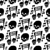 Heavy rock music badge vector vintage label with punk skull seamless pattern background hard sound sticker emblem. Heavy rock music badge vector vintage label Royalty Free Stock Photo