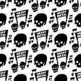 Heavy rock music badge vector vintage label with punk skull seamless pattern background hard sound sticker emblem royalty free illustration