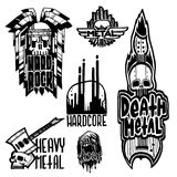 Heavy rock music badge vector vintage labels with punk skull symbols hard sound sticker print emblem illustration Royalty Free Stock Image
