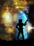 Heavy rock. Silhouette of a rock guitarist playing his music at the foreground of a spatial landscape. His guitar takes its power from the rising stars Stock Image