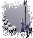 Heavy rock style background. Background with heavy rock guitar, skulls and stars Royalty Free Stock Image