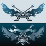 Heavy rock symbols. Two backgrounds with guitars, skull, wings and ribbon Stock Image