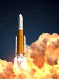Heavy Rocket In The Clouds Of Fire. 3D Illustration Stock Photos