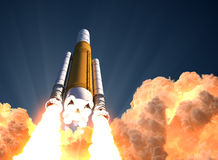 Heavy Rocket Launch In The Clouds Of Fire. 3D Illustration Royalty Free Stock Photos