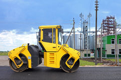 Heavy roller at asphalt pavement works (road repairing) Stock Image