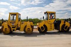 Heavy roller - road repairing Royalty Free Stock Image