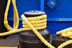 Heavy rope on mooring winch Stock Photo