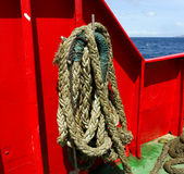 Heavy ropes used on an inter-island ferry in the grenadines Stock Images