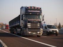 Heavy Scania truck on Italian motorway. Italian nacional transport Scania truck on motorway A4  at city of Modena Stock Photography