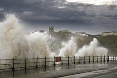 Heavy seas waves. Waves crash against north marine drive coast weather Stock Photography