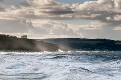 Stormy Seas. Heavy seas at Whitby on the East Coast of Yorkshire, England royalty free stock images