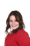 Heavy set girl with dark eyeliner smiling Royalty Free Stock Image