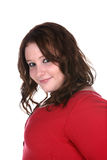 Heavy set teenage girl in red sweater Royalty Free Stock Photos