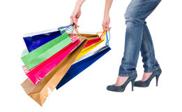 Heavy shopping bags Stock Image