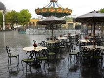Heavy shower abandoned Theme Park setting Royalty Free Stock Image