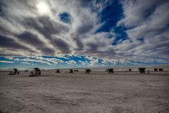 Heavy Sky above White Sands National Monument Picnic area stock photos