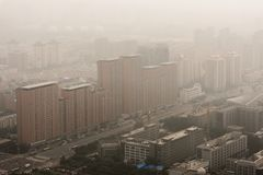 Heavy Smog in Beijing. Aerial photo with large buildings Stock Image