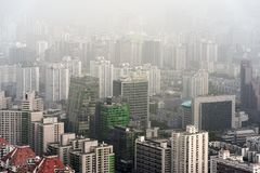 Heavy Smog in Beijing. Aerial photo with large buildings Stock Images