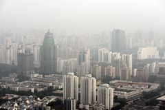 Heavy Smog in Beijing. Aerial photo with large buildings Royalty Free Stock Photos