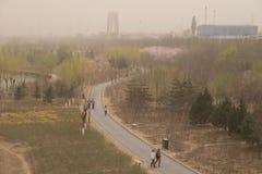 Heavy smog pollution hits Beijing, China Royalty Free Stock Photo