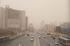 Heavy smog pollution hits Beijing, China Stock Photography