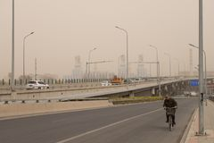 Heavy smog pollution hits Beijing, China stock images