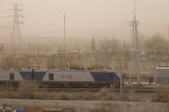Heavy smog pollution hits Beijing, China Stock Image