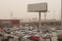 Heavy smog pollution hits Beijing, China Royalty Free Stock Photography