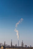 Heavy smoke pollution from coal power plant stacks Stock Photo