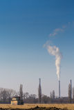 Heavy smoke pollution from coal power plant stacks Royalty Free Stock Image