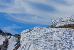 Heavy Snow Banks On The Trail Stock Photography
