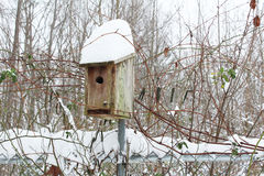 Heavy snow on a birdhouse Stock Photos
