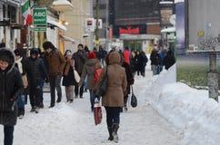 Heavy snow in Bucharest Stock Photos