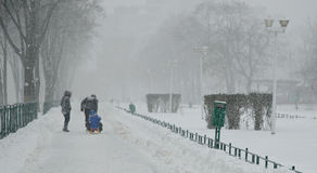 Heavy snow in Bucharest Stock Photo