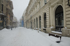 Heavy snow in Bucharest Royalty Free Stock Images