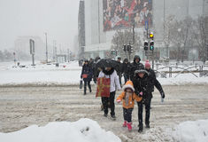 Heavy snow in Bucharest. A street in Bucharest center after massive snowing Stock Photography