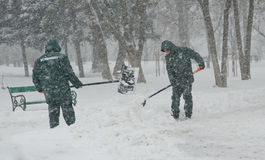 Heavy snow in Bucharest Royalty Free Stock Photography