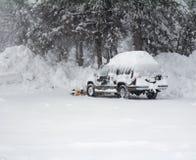 Heavy snow. Car under snow. Stock Image