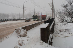 Heavy snow in central European Russia Stock Photo