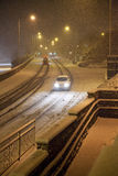 Heavy snow fall with passing traffic Stock Images