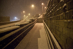 Heavy snow fall on road at night Royalty Free Stock Photos