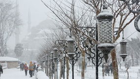 Heavy snow fall and snowstorm in Istanbul stock video